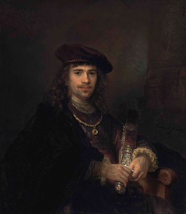 Rembrandt Harmensz. van Rijn (1606-1669) and Studio, Man with a Sword. Oil on canvas. 40¼ x 35  in (102.3 x 88.5  cm). Sold for £2,200,000 on 3 December 2013 at Christie's in London