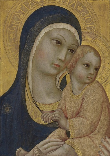 Sano di Pietro (Siena 1405-1481), The Madonna and Child. On gold ground panel. 16 ¼ x 11⅝  in (41.2 x 29.6  cm). Sold for £170,500 on 9 July 2015 at Christie's in London