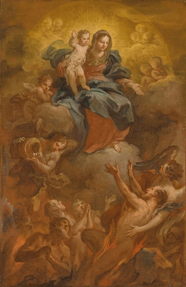 Sebastiano Conca (1680-1764), The Madonna and Child Releasing Souls from Purgatory. Oil on canvas. 18⅜ x 12¼  in (46.7 x 31.2  cm). Sold for £10,000 on 5 July 2019 at Christie's in London