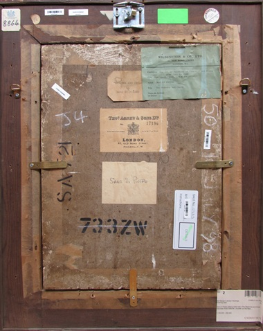 The back of Pietro's painting with stencils, stickers and labels, including those of London dealer Thomas Agnew & Sons and New York gallery Wildenstein & Co.