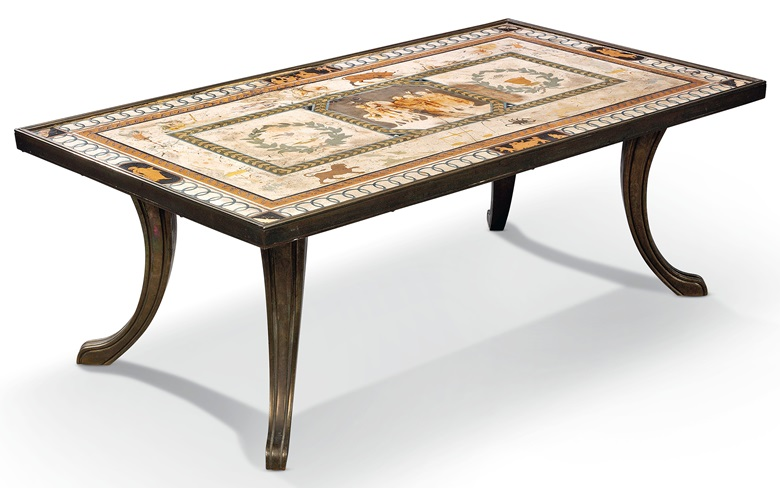 An Italian rectangular scagliola table top, late 18th century. Sold for £6,250 in Chieveley House, Berkshire and Five Private Collections on 19 March 2020 at Christie's in London