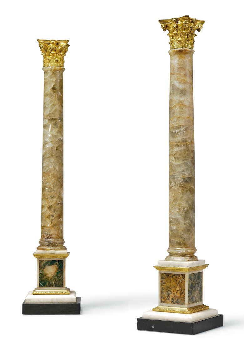 A pair of George III ormolu-mounted fluorspar and marble Corinthian columns, attributed to Matthew Boulton, circa 1770. Sold for £47,500 in Chieveley House, Berkshire and Five Private Collections on 19 March 2020 at Christie's in London