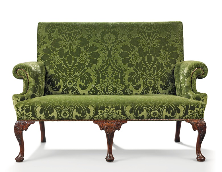 A George III mahogany sofa, circa 1750, in the manner of Paul Saunders. Sold for £15,000 in Chieveley House, Berkshire and Five Private Collections on 19 March 2020 at Christie's in London