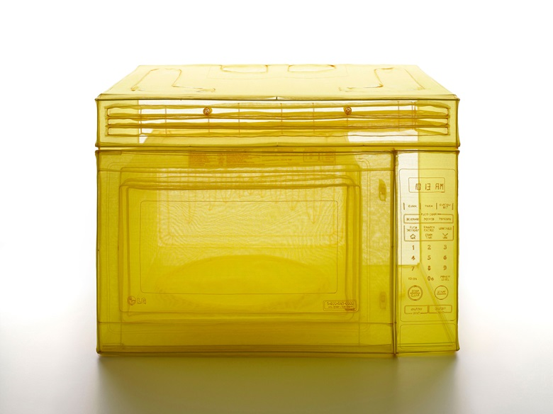 Do Ho Suh,Microwave Oven, Unit 2, 348 West 22nd Street, New York, NY 10011, USA, 2015. Polyester fabric, stainless-steel wire, and glass display case with LED lighting. 29.92 x 36.22 x 26.38 in (vitrine) (76 x 92 x 67 cm).© Do Ho Suh. Courtesy the artist and Lehmann Maupin, New York, Seoul and Hong Kong