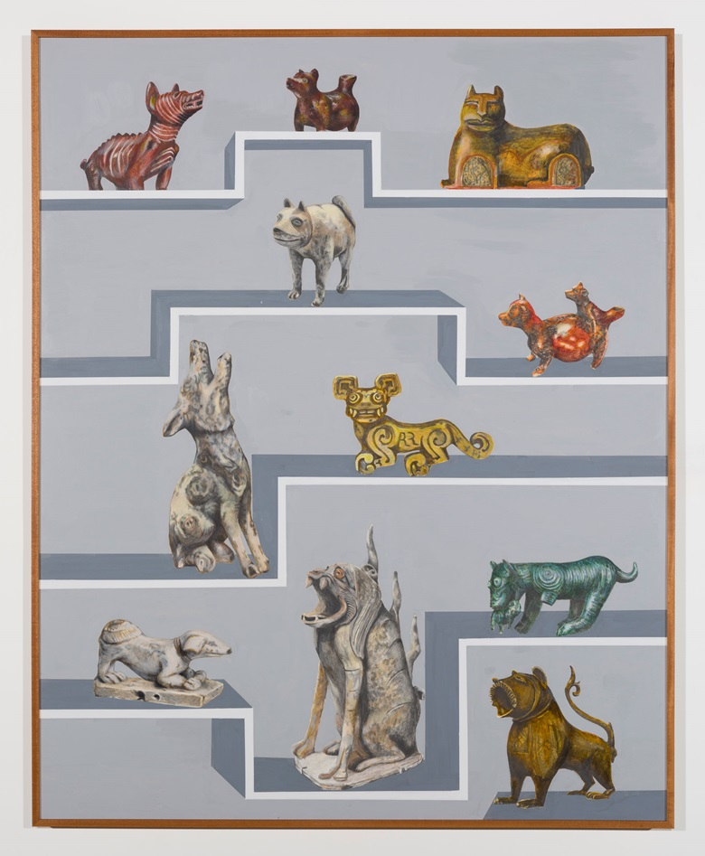 Gala Porras-Kim, 13 International Dogs, 2019. Graphite, colour pencil, and ink on paper mounted on canvas, mahogany artist's frame. 60 x 48 in (152.4 x 121.9 cm). #GP1082