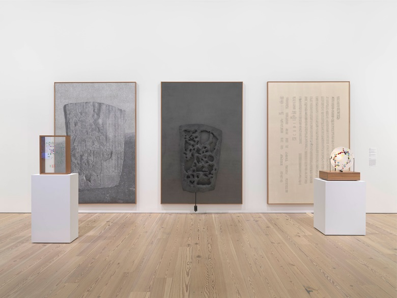 Installation view of the Whitney Biennial 2019 (Whitney Museum of American Art, New York, May 17-September 22, 2019). From left Gala Porras-Kim, La Mojarra Stela and Its Shapes, 2019; Gala Porras-Kim, La Mojarra Stela Negative Space, 2019; Gala Porras-Kim,La Mojarra Stela Illuminated Text and La Mojarra Stela Incidental Conjugations, 2019. Photograph by Ron Amstutz