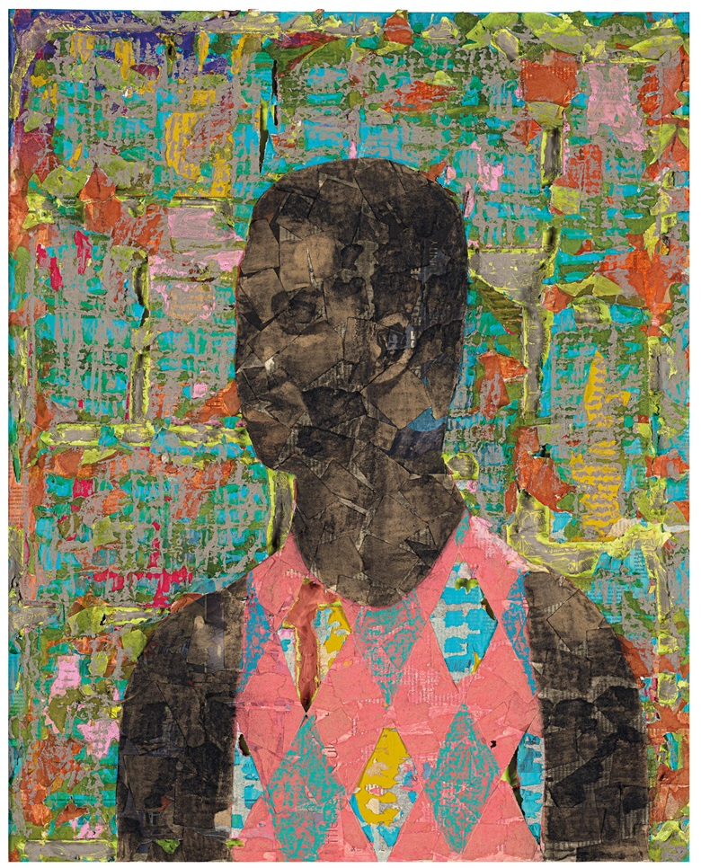 Derek Fordjour (b. 1974), No. 93, 2018. Oil pastel, charcoal, acrylic, cardboard and newspaper mounted on canvas. 30 x 24 in (76.2 x 61 cm). Sold for $81,250 on 5 March 2020 at Christie's in New York