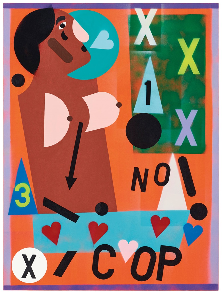 Nina Chanel Abney (b. 1982), Untitled (XXX NO! COP), executed in 2014. Acrylic and spray paint on canvas. 48 x 36 in (121.9 x 91.4 cm). Sold for $125,000 on 5 March 2020 at Christie's in New York