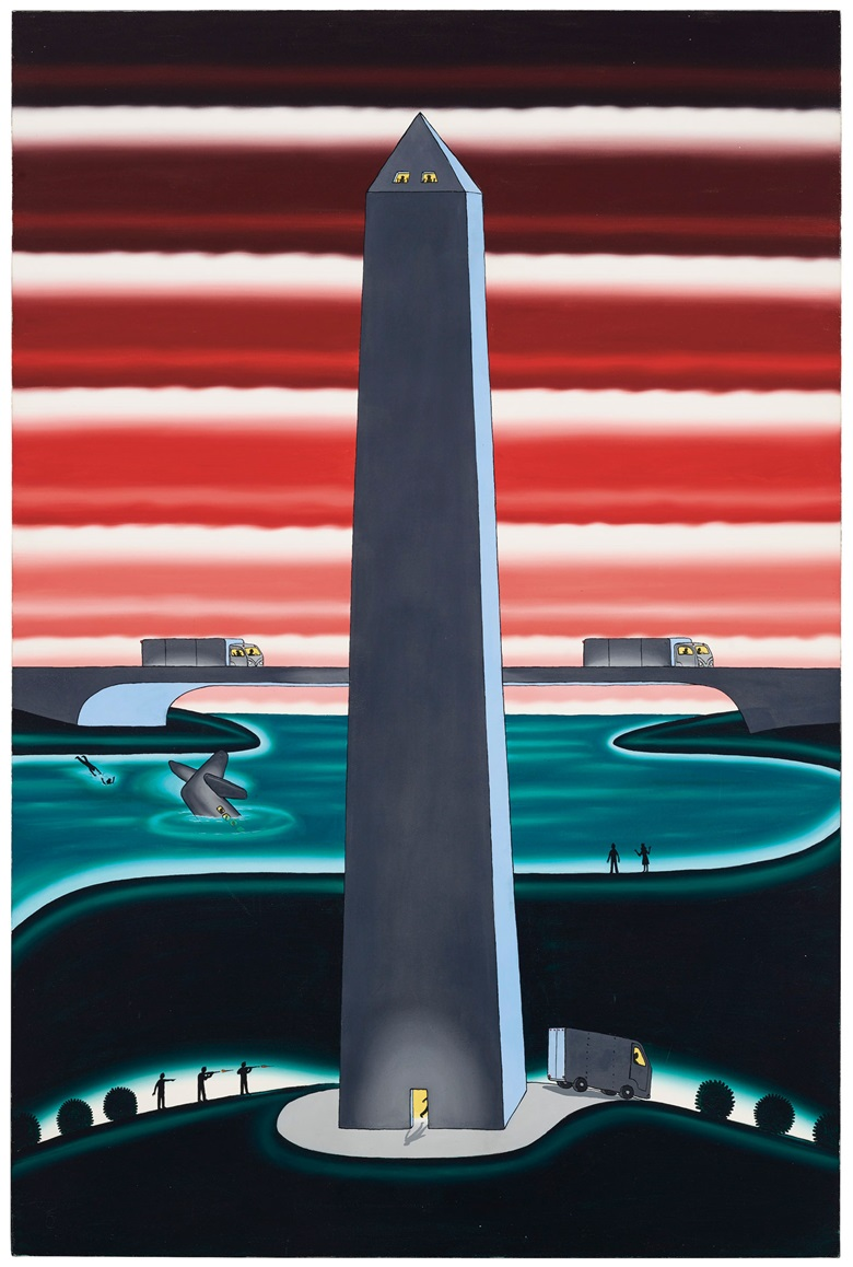 Roger Brown (1941-1997), Lenny Skutnik and Norman Mayer (Two Opposites of Human Character), 1982. Oil on canvas. 72 x 48 in (182.9 x 121.9 cm). Sold for $175,000 on 5 March 2020 at Christie's in New York