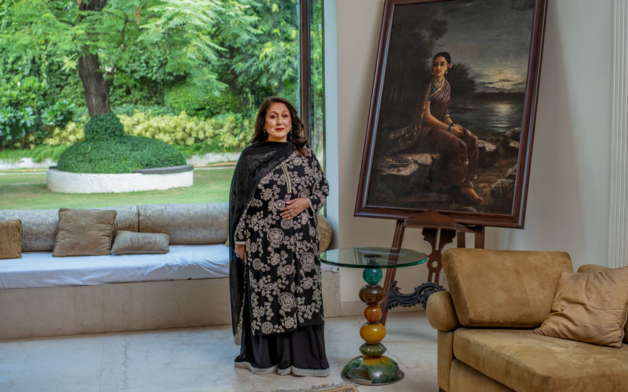 Kiran Nadar at home in New Delhi with Raja Ravi Varma, Radha in the Moonlight, 1890. All photographs by Kalpesh Lathigra