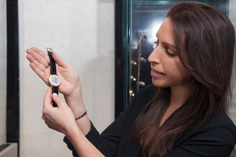 Rebecca with the Andersen Geneve, World Time, 18k gold, Christopher Columbus 500th anniversary