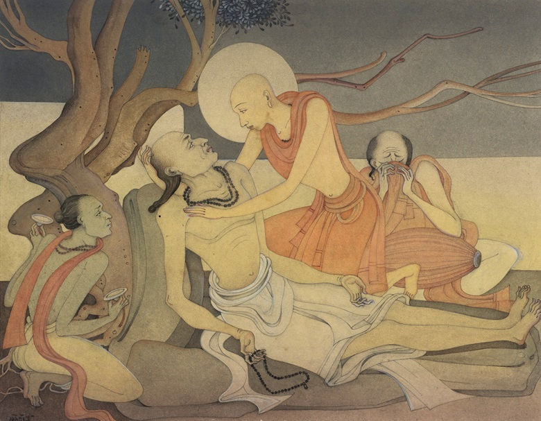 Kshitindranath Mazumdar (1891-1975) Death of Sadhu Haridas. Watercolour on paper laid on board. 10 x 13 in (27.6 x 34.9 cm). Estimate $15,000-25,000. Offered in A Lasting Engagement The Jane and Kito de Boer Collection on 23 September at Christie's in New York
