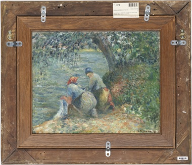 Set into the back of Pissarro's 1878 scene of farmyard birds is another work entirely, depicting two women washing laundry