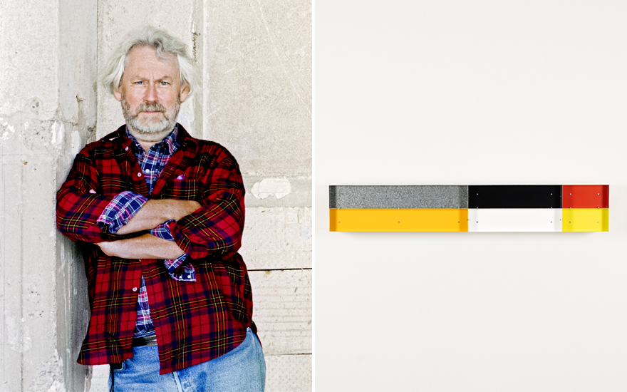 Donald Judd photographed in Marfa, Texas, in 1993. © Laura Wilson. Donald Judd, Untitled, 1989. Enamelled aluminium, 30 × 180 × 30 cm. Private collection, Belgium. © 2020
