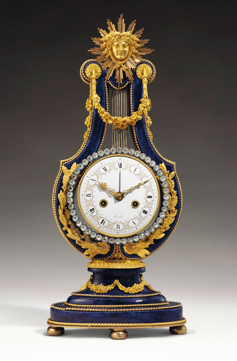 A late Louis XVI ormolu-mounted Sèvres gros bleu porcelain mantel clock, circa 1785. 23¾ in (60.5 cm) high, 10½ in (26.5 cm) wide. Estimate $60,000-100,000. Offered in Dalva Brothers Parisian Taste In New York on 22 October 2020 at Christie's in New York