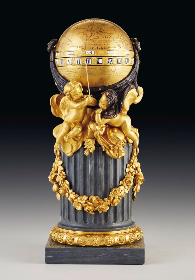 A Louis XVI ormolu, blued and silvered metal and bleu turquin marble pendule a cercles tournants, by Le Paute, Paris, dated 1780. 14¼ in (36.5 cm) high, 5¾ in (14.5 cm) diameter. Estimate $70,000-100,000. Offered in Dalva Brothers Parisian Taste In New York on 22 October 2020 at Christie's in New York