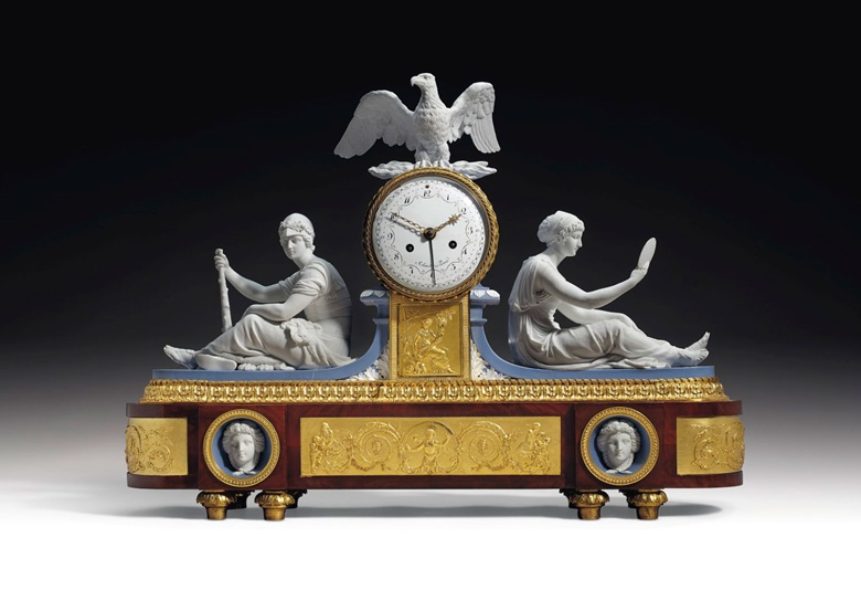 An Empire ormolu-mounted mahogany and Diehl et Guerhard porcelain clock emblematic of truth and strength, circa 1805-1815. 22¼ in (56.5 cm) high, 31½ in (80 cm) wide, 6½ in (16.5 cm) deep. Estimate $60,000-100,000. Offered in Dalva Brothers Parisian Taste In New York on 22 October 2020 at Christie's in New York
