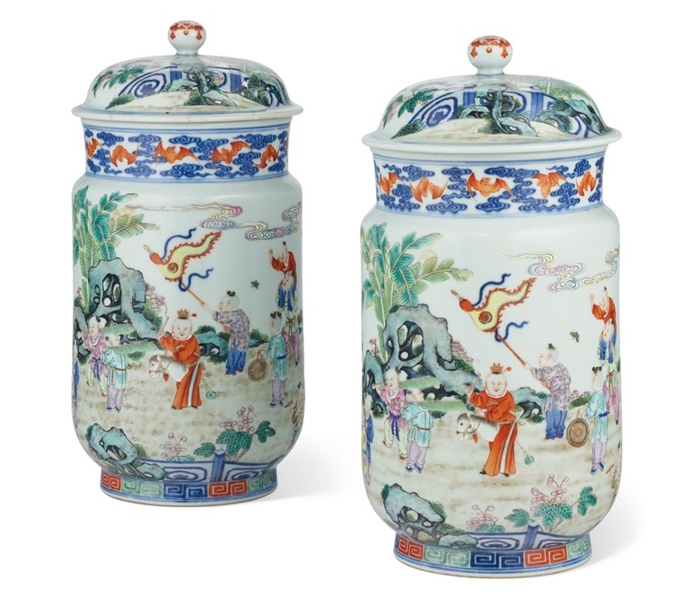 The Wanamaker pair of rare famille rose 'Boys' jars and covers. Qianlong seal marks in underglaze blue and of the period (1736-1795). 11¼ in (28.5 cm) high. Estimate $800,000-1,200,000. Offered in Important Chinese Ceramics and Works of Art on 25 September 2020 at Christie's in New York
