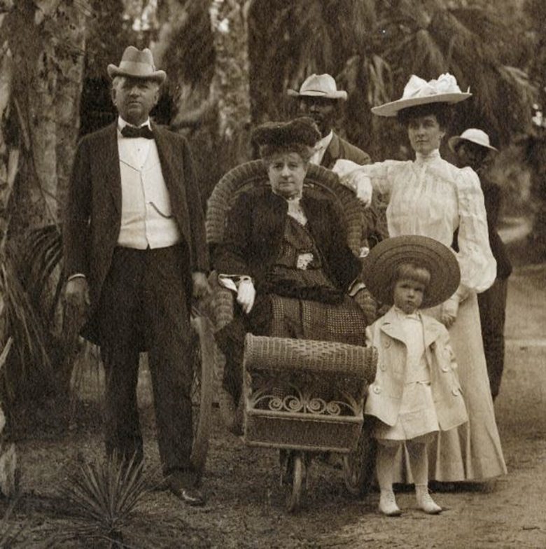 Three generations of the Wanamaker family on vacation in Florida, circa 1904. From left John Wanamaker, Mary Brown Wanamaker, Mary Brown Wanamaker Warburton and C. Egerton Warburton