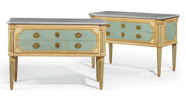 A pair of Italian white, cream and blue-painted commodes, late 19thearly 20th century. Estimate $5,000-8,000. Offered in The Collector, 28 April-7 May, Online