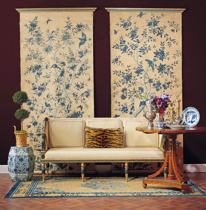 Two from a set of six Chinese export wallpaper panels, 18th century. Estimate $5,000-7,000. A Swedish giltwood and bronzed sofa, attributed to Ephraim Stahl, early 19th century. Estimate $12,000-18,000. A pair of Chinese porcelain blue and white hexagonal garden seats, Qing dynasty, 18th19th century. Estimate $5,000-7,000. A Ningxia rug, west China, 19th century. Estimate $5,000-8,000. A set of