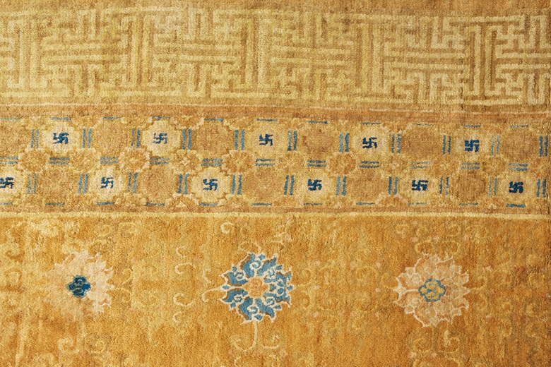 Detail An important and imperial temple carpet, probably Ningxia, late Ming dynasty, first half 17th century. 32 ft 5 in x 23 ft 5 in (988.1 x 713.7) cm. Estimate $800,000-1,200,000. Offered in The Exceptional Sale on 14 October at Christie's in New York