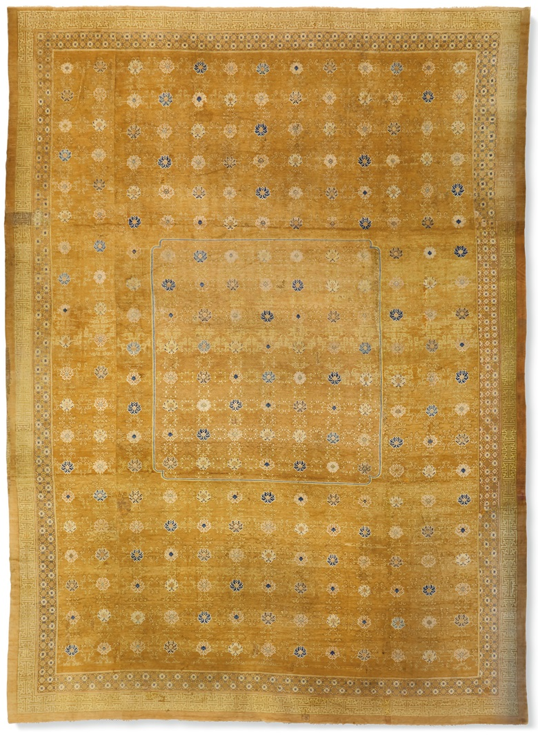 An important and imperial temple carpet, probably Ningxia, late Ming dynasty, first half 17th century. 32 ft 5 in x 23 ft 5 in (988.1 x 713.7) cm. Estimate $800,000-1,200,000. Offered in The Exceptional Sale on 14 October at Christie's in New York