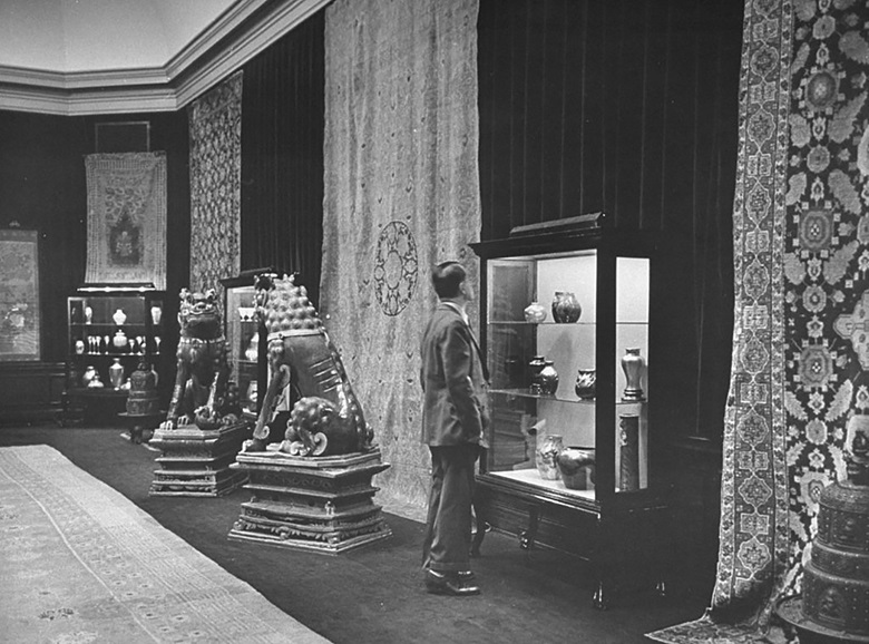 Parke-Bernet Galleries 1946, Tiffany Foundation sale with Ming carpet and Kangxi lions. Courtesy of Bob LandryThe LIFE Picture CollectionGetty Images