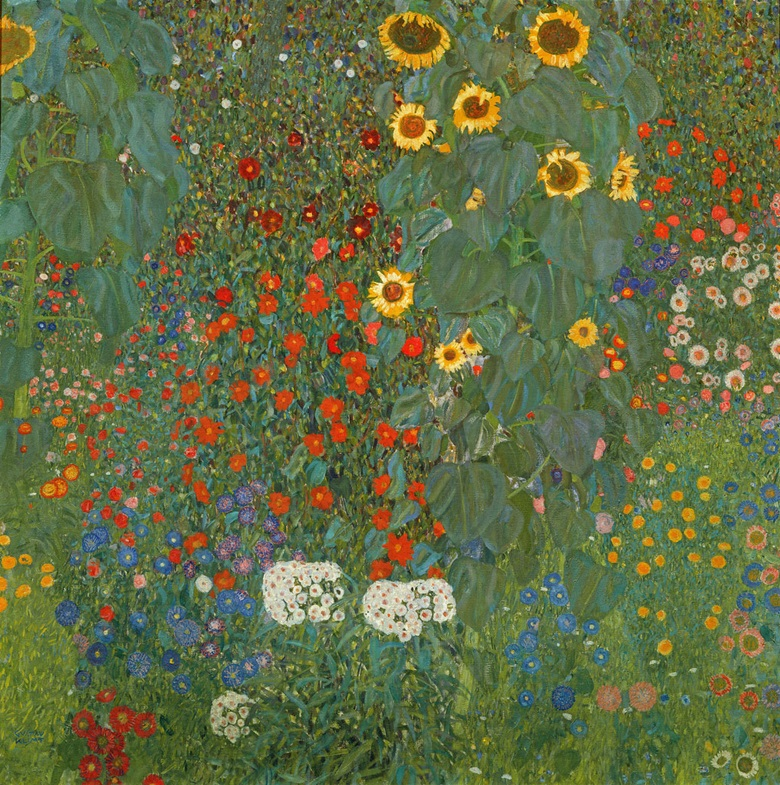 Gustav Klimt, Farm Garden with Sunflowers, 1905-6. Oil on canvas, 110 x 110 cm. Osterreichische Galerie Belvedere, Vienna, Austria. Photo Artothek  Bridgeman Images
