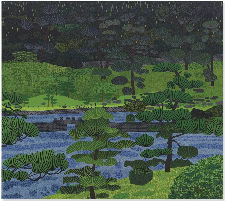 Jonas Wood (b. 1977), Japanese Garden 3, 2019. Oil and acrylic on canvas. 88 x 98  in (223.5 x 248.9  cm). Sold for $4,928,500 on 15 May 2019 at Christie's in New York