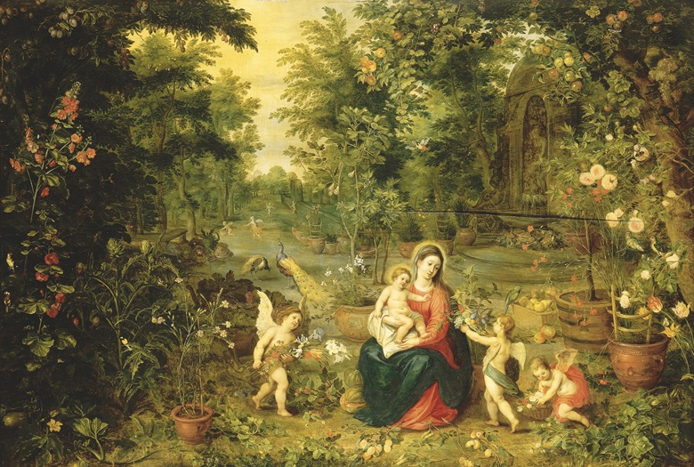 Jan Brueghel II (Antwerp 1601-1678) and Hendrick van Balen (Antwerp 1575-1632), The Madonna and Child Seated in a Garden with Putti, Birds and Animals. Oil on panel. 32⅛ x 47¾ in (81.5 x 121.3 cm). Sold for £388,750 on 11 July 2001 at Christie's in London