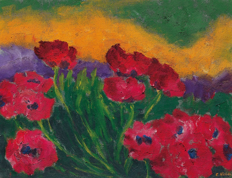 Emil Nolde (1867-1956), Mohn (Poppies), 1950. Oil on canvas. 27 x 34⅝ in (68.6 x 88 cm). Price upon request. Browse all Impressionist and Modern Art offered for private sale at Christie's