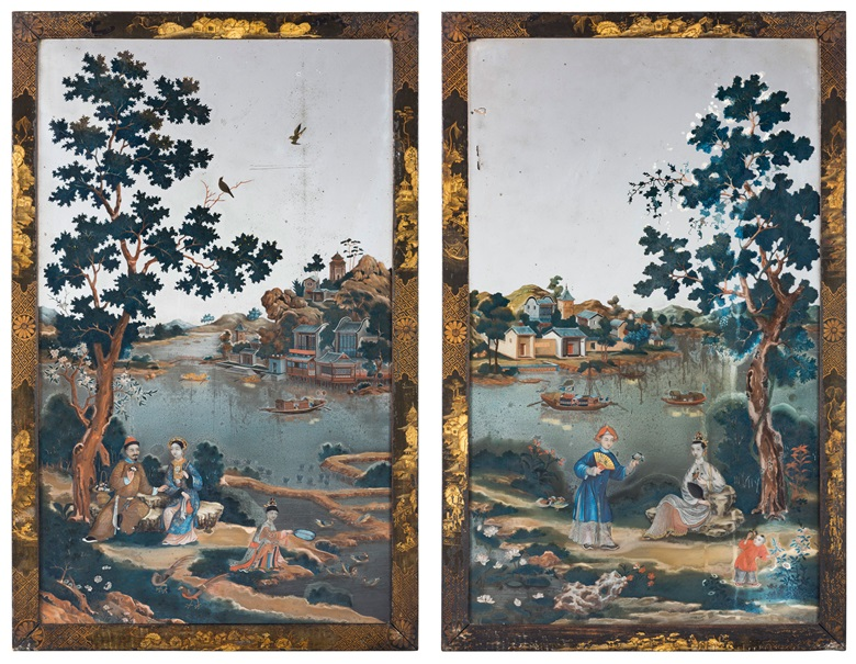 A pair of Chinese export reverse mirror paintings, mid 18th century. 30 x 19 in (76 x 48cm). Estimate £30,000-50,000. Offered in Gloria Property from the late Dowager Countess Bathurst on 22 July at Christie's in London