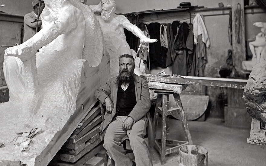 A portrait of Auguste Rodin in his studio, taken by the photographer Dornac, aka Paul Marsan. Archives Larousse, Paris. Photo Bridgeman Images