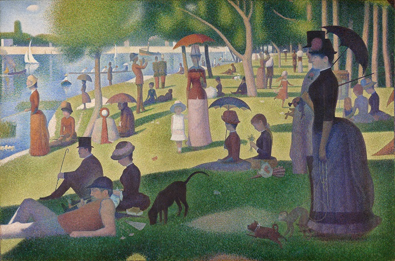 Georges Seurat (1859-1891), A Sunday on La Grande Jatte - 1884, 1884-1886. Oil on canvas. 207.5 x 308.1 cm. Helen Birch Bartlett Memorial Collection. 1926.224. Courtesy of the Art Institute of Chicago