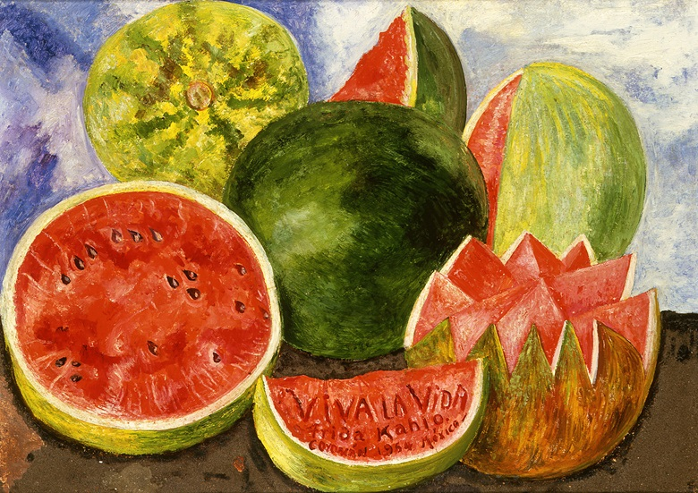 Frida Kahlo, Viva la vida. Watermelons, 1954. Oil on masonite. 59.5 x 50.8 cm. Frida Kahlo Museum, Mexico City. Photo SchalkwijkArt Resource, New YorkScala, Florence. © Banco de México Diego Rivera Frida Kahlo Museums Trust, Mexico, D. F.DACS 2020