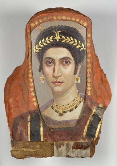 Attributed to the Isidora Master (Romano-Egyptian, active 100-125), Mummy Portrait of a Woman, A.D. 100. Encaustic on linden wood; gilt; linen. 48 x 36 x 12.8 cm. 81.AP.42. The J. Paul Getty Museum, Villa Collection, Malibu, California. Digital image courtesy of the Getty's Open Content Program