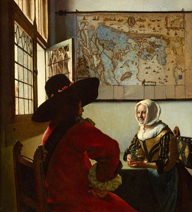 Johannes Vermeer (1632-1675), Officer and Laughing Girl, circa 1657. Oil on canvas (lined). 19⅞ x 18⅛ in. The Frick Collection, New York. Photo Michael Bodycomb