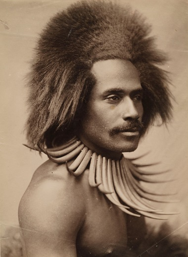 Probably John William (J. W.) Waters, Fijian Warrior (with Whale Tooth Necklace), 1880s. Albumen print.Los Angeles County Museum of Art, partial gift of Mark and Carolyn Blackburn and purchased with funds from LACMAs 50th Anniversary Gala and Fiji Water. Photo © Museum AssociatesLACMA
