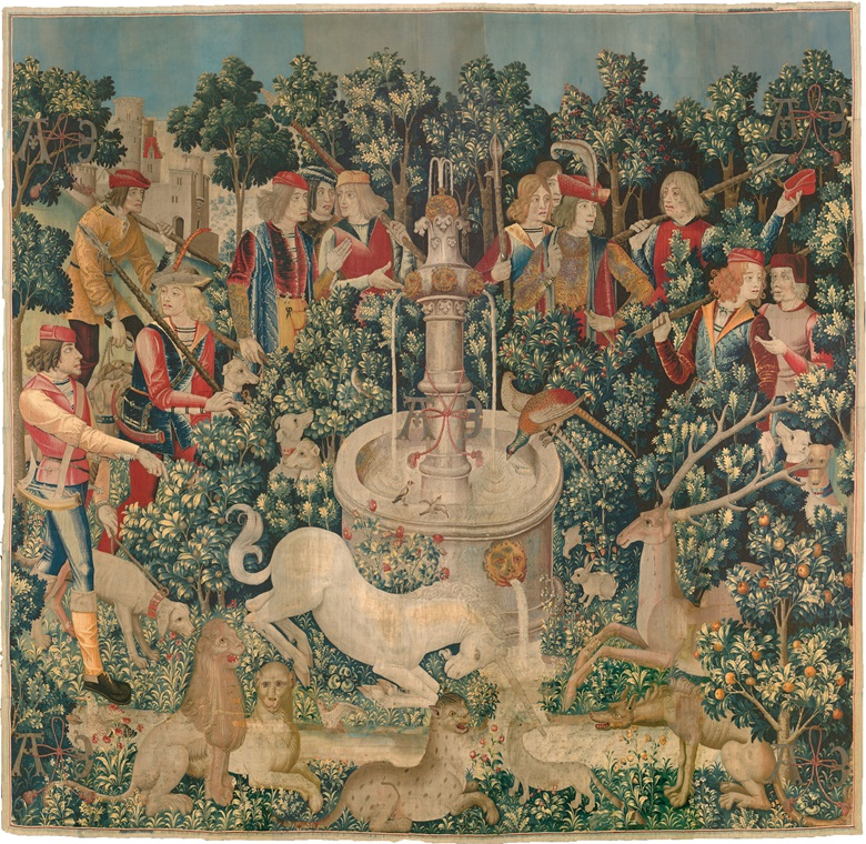 The Unicorn Purifies the Water (from the Unicorn Tapestries), 1495-1505. French (cartoon)South Netherlandish (woven). Wool warp with wool, silk, silver and gilt wefts. Overall 368.3 x 378.5 cm. Gift of John D. Rockefeller Jr., 1937. 37.80.2. Courtesy The Metropolitan Museum of Art