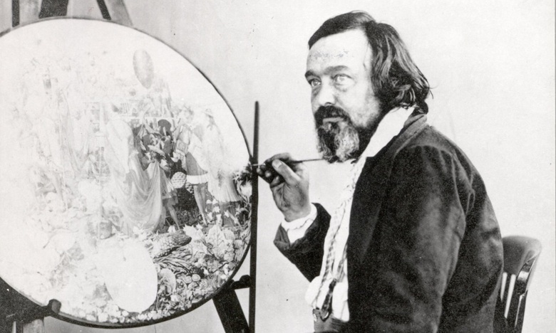 Henry Hering, portrait photograph of Richard Dadd painting Contradiction, circa 1875. Photo © Bethlem Museum of the Mind