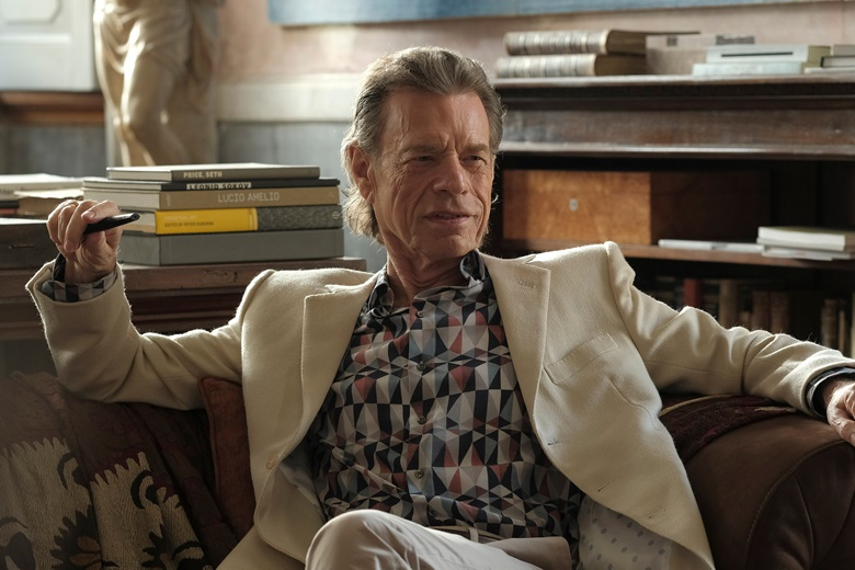 Mick Jagger stars as wealthy art collector Joseph Cassidy in The Burnt Orange Heresy. Photo Courtesy of Rumble Films © Jose Haro
