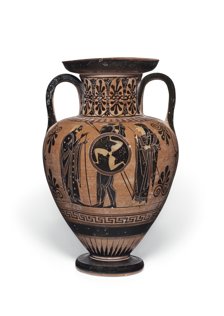 An Attic black-figured neck-amphora, near the Antimenes Painter, circa 520-510 BC. 12¼ in (31.1 cm) high. Estimate $70,000-90,000. Offered in Antiquities on 2-16 June 2020 online