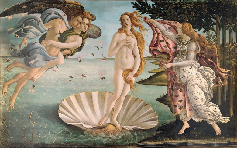 Sandro Botticelli, The Birth of Venus, circa 1485. Tempera on canvas. 172.5 x 278.5 cm. Galleria degli Uffizi, Florence. Photo Bridgeman Images
