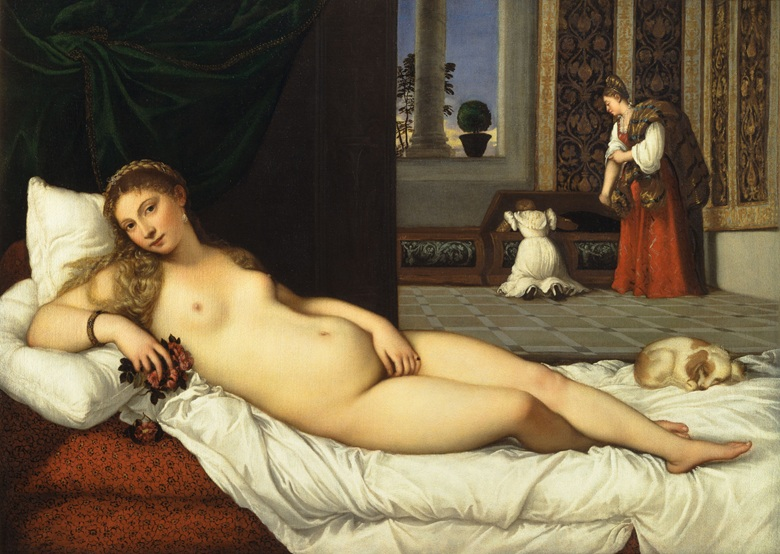 Titian (Tiziano Vecellio),Venus of Urbino, before 1538. Oil on canvas, 119 x 165 cm. Galleria degli Uffizi, Florence. Photo © Raffaello Bencini  Bridgeman Images