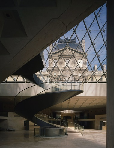 The Louvre, Paris. Hall Napoleon under the pyramid of the Louvre, by Ieoh Ming Pei in association with Michel Macary and Jean-Michel Wilmotte. Photo © Collection Artedia Artedia  Bridgeman Images