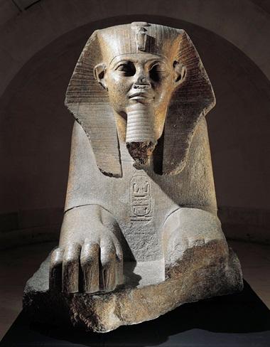 Pink granite Great Sphinx from Tanis, Musée du Louvre, Paris. Egyptian civilization, Old Kingdom. Photo D. Dagli Orti  De Agostini Picture Library  Bridgeman Images