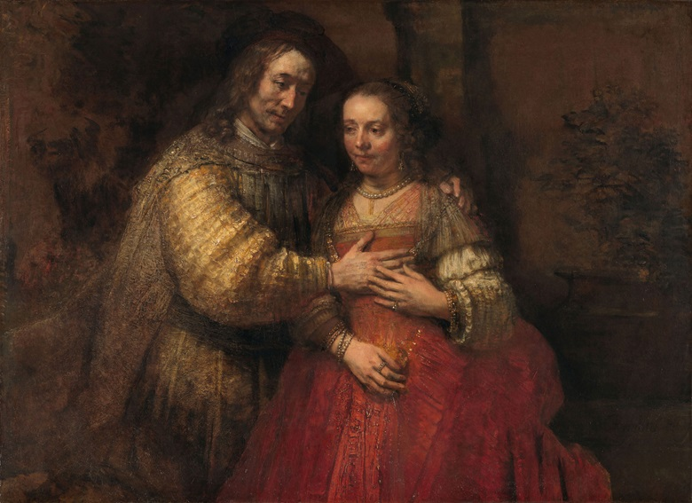 Rembrandt van Rijn, The Jewish Bride, c. 1665-c. 1669. Oil on canvas. 121.5 x 166.5 cm. Rijksmuseum,  Amsterdam. On loan from the City of Amsterdam (A. van der Hoop Bequest)