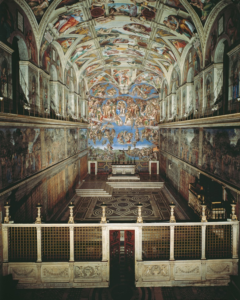 View of Sistine Chapel. On the vault the Stories of Creation are framed by membrature with Prophets and Sibyls painted by Michelangelo Buonarroti in 1508 to 1512. On the altar wall the Last Judgement executed by Michelangelo himself between 1536 and 1541. Photo © Mondadori Portfolio  Bridgeman Images