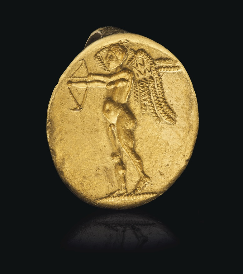 A Greek gold finger ring with Eros, Hellenistic Period, circa late 4th century BC. ⅞ in (2.2. cm) wide. Estimate $15,000-20,000. Offered in Masterpieces in Miniature Ancient Engraved Gems formerly in the G. Sangiorgi Collection Part II, 2-16 June 2020, Online